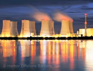 Underwater barriers for nuclear power plant protection