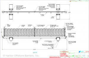 Harbor Offshore Barriers' PSB 600 floating port security barrier system diagram